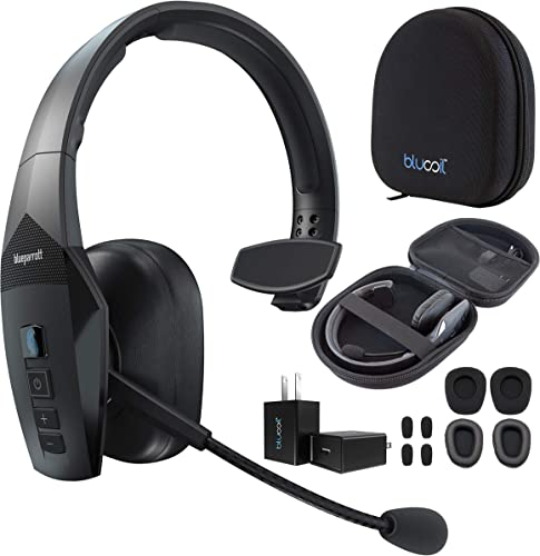 popular BlueParrott B450-XT Noise Cancelling Bluetooth Headset for outlet sale iOS and Android Bundle with Blucoil Headphone Carrying Case, Replacement Mic Windscreens and Ear Pads, and popular USB Wall Adapter outlet sale