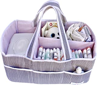 Lily Miles Baby Diaper Caddy - Large Organizer Tote Bag for Infant Girls - Baby Shower Gifts - Nursery Must Haves - Registry Favorites - Collapsible Newborn Caddie Car Travel (Blush, Large)