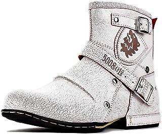 osstone Bottes de Moto Cowboy pour Hommes Mode Zipper Bottes Chukka en Cuir Chaussures décontractées OS-5008-1-O-R