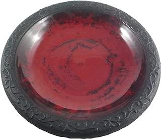 Tierra Garden 4-8180T Gloss Bird Bath Bowl with Matte Rim, Red