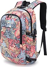 Tzowla Business Laptop Backpack Water Resistant Anti-Theft College Backpack with USB Charging Port and Lock 15.6 Inch Computer Backpacks for Women Girls, Casual Hiking Travel Daypack (A-FlowerLeaf)
