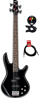 Ibanez GIO GSR200 4-String Electric Bass Guitar Bundle with Guitar Tuner and Instrument Cable with Fully Adjustable Bridge & Equalizer Phat II EQ (GSR200BK, Black)