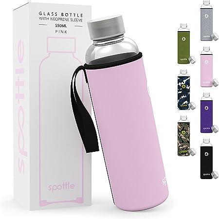 spottle botella de agua cristal en 500ml, 750ml y 1 litro con funda / Botella de Agua de Vidrio Reutilizable - 100% sin BPA