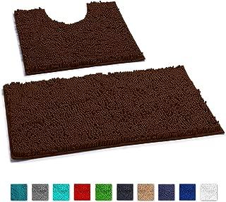 LuxUrux Bathroom Rugs Luxury Chenille 2-Piece Bath Mat Set, Soft Plush Anti-Slip Shower Rug +Toilet Mat.1'' Microfiber Shaggy Carpet, Super Absorbent Machine Washable Bath Mats(Curved Set, Brown)