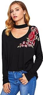 Women's Choker Neck Flower Embroidery Long Sleeve T-Shirt Top