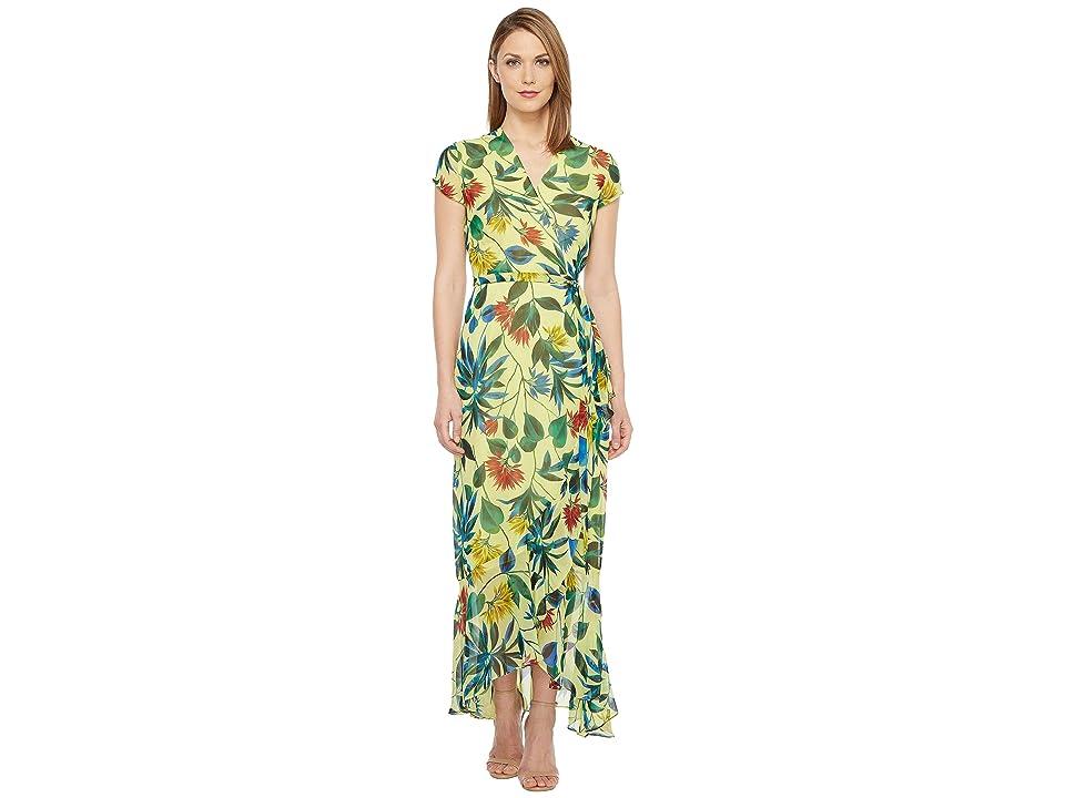 Taylor Chiffon Floral Maxi Wrap Dress (Lemon Zest) Women