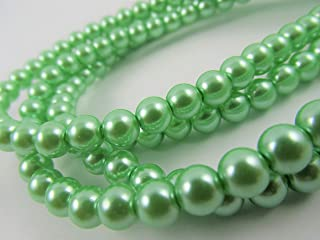 BeadsOne 52 Pearl Beads Round Tiny Beads Mint Light Green for Handmade Jewerly Necklace Bracelet Beading Supplies faux pearls TOP quality C38 (8mm)