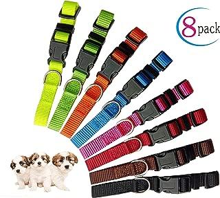 Partner Puppy ID Collars Identification Whelping Super Soft Nylon Adjustable Breakaway New Born Pets with Record Keeping Charts 8pcs