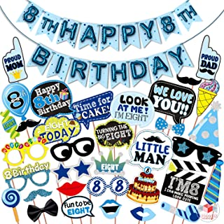 WOBBOX Eight Birthday Photo Booth Party Props Blue for Baby Boy with 8th Birthday Bunting Banner for Baby Boy in Blue, 8th...