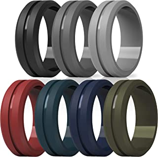ThunderFit Silicone Wedding Rings for Men - 7 Rings / 4 Rings / 1 Ring Brushed Top Middle Engraved Line Rubber Engagement Bands - 8.2mm Width 2.5mm Thickness