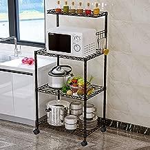 LENTIA 4-Tier Baker's Rack Microwave Stand Kitchen Oven Rack with Wire Mesh Shelves 4-Side Hooks 4 Wheel Casters & Adjustable Leg Plug