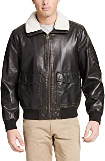 Men's Maverick Faux Leather Sherpa Collar Aviator Bomber Jacket (Standard & Big-Tall)