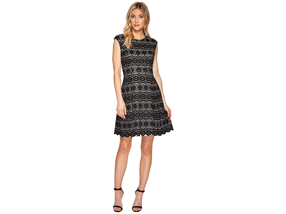 Vince Camuto Bonded Lace Fit Flare Dress (Black) Women