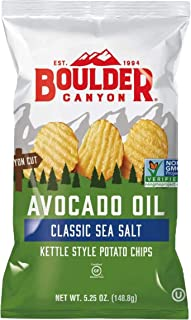 Boulder Canyon Avocado Oil Kettle Cooked Potato Chips, Sea Salt, Wavy Cut, 5.25 oz. Bag, 12 Count – Crunchy Chips Cooked i...