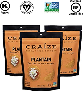 Craize Extra Thin & Crunchy Toasted Corn Crisps - Healthy Vegan All Natural Plant Based Crackers Non GMO Snack - Gluten Free - 3 Pack, 4 Ounces Each (Plantain)