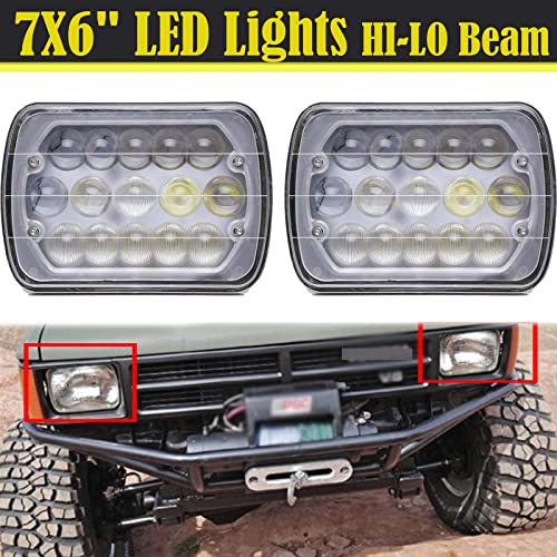 """lowest 7""""x6"""" LED Headlight Sealed Beam for Toyota popular Truck Pickup Super Bright wholesale High Low Beam H4 Plug H6014 H6052 H6054 6054, Pack of 2 sale"""