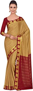 MIMOSA Women's Kanchipuram Crepe Saree With Unstitched Blouse Piece (4322-2261-2D-CKU-RD_Brown)