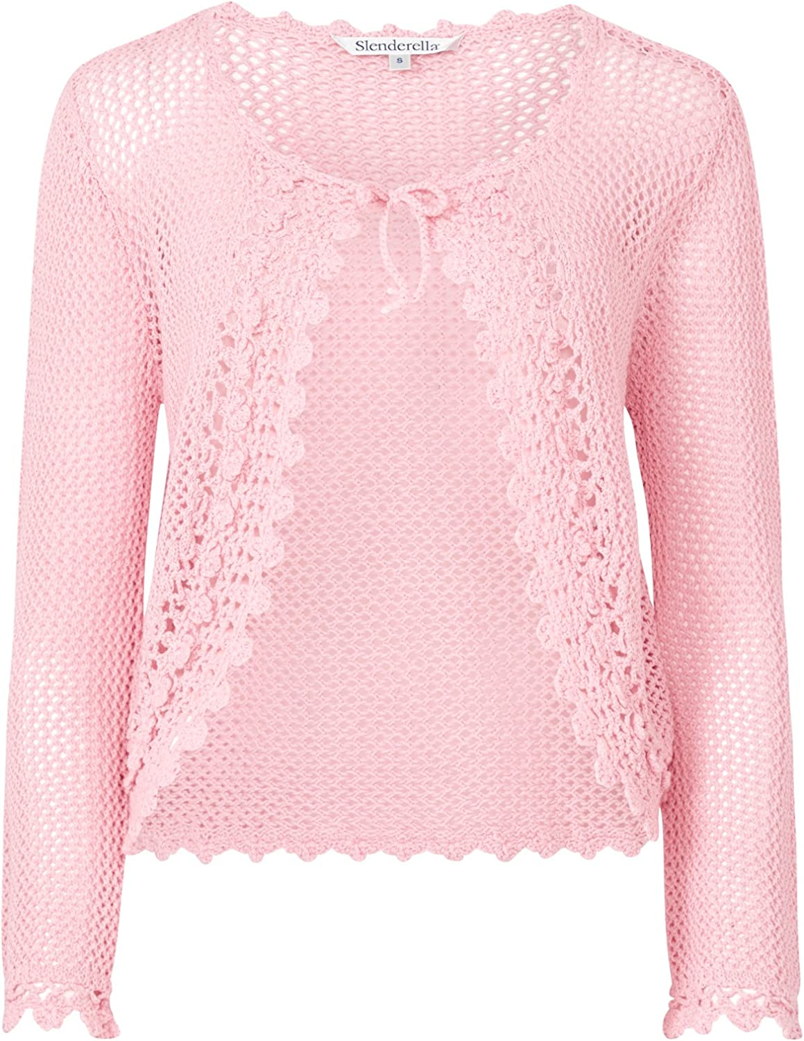 Slenderella Womens 100% Knitted Cotton Bed Jacket Crochet Edge Tie Front House Coat (bluee or Pink)