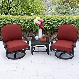Lakeview Outdoor Designs Villa Flora 3 Piece Cast Aluminum Patio Conversation Set W/Swivel Rockers, End Table & Sunbrella Canvas Henna Cushions