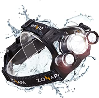 ZONAPA Rechargeable LED Headlamp Head Mounted Flashlight   Waterproof, Outdoor Use   Tactical Camping, Hiking, Running Lights   Ultra Bright