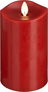 Cottage Collectibles Luxury Lite Home Decor Flameless LED Wax Pillar Candle , Red