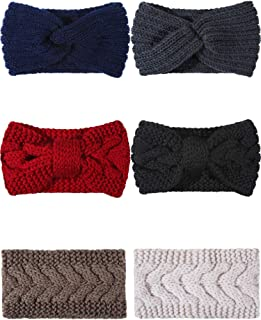 Blulu 6 Pieces Crochet Headbands Cable Knit Headband Ear Warmers Braided Headwrap Winter Accessory for Women Girls, 3 Styles