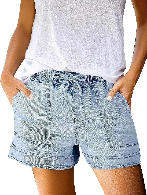 LookbookStore Women's Casual Drawstring Elastic Waist Raw Hem Denim Shorts Pants