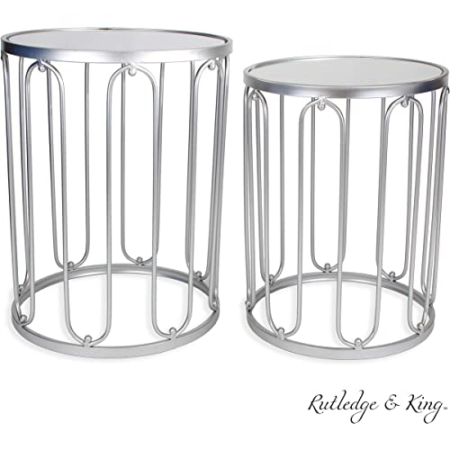 Amazon Com Round End Table Set Silver End Tables With Mirrored Tops Nesting Round Accent Tables Silver And Mirrored Metal Side Tables Rutledge King Braswell End Table Set