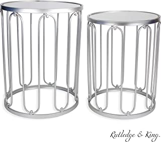 Round End Table Set - Silver End Tables with Mirrored Tops - Nesting Round Accent Tables - Silver and Mirrored Metal Side Tables - Rutledge & King Braswell End Table Set