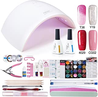 6 Gel Kit : Azure Beauty Gel Polish Starter Kit with UV LED 24W Nail lalmp Dryer WSGP19