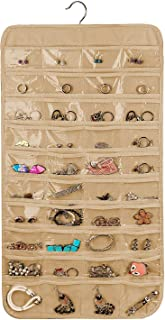 Porchex Hanging Jewelry Organizer Dual Sides 75 Pockets Accessories Storage for Holding Jewellery Organiser Dual Side(Beige) Pack of 1#Wardrobe Jewelry Organisers