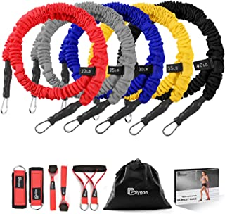 Polygon Resistance Bands Set, Upgraded Resistance Tubes with Anti-Snap Heavy Duty Protective Nylon Sleeves, Include 5 Exercise Bands, Door Anchor, Ankle Strap, Handle
