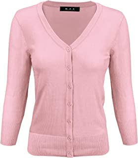 YEMAK Women's 3/4 Sleeve V-Neck Button Down Knit Cardigan Sweater (S-3X)