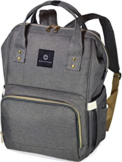 Diaper Bag Backpack, Soulsten Stylish for Mom and Dad, Multi-Function, Waterproof Travel Baby Nappy Bags for Boys and Girls, Large Capacity and Durable, Grey