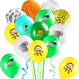 MALLMALL6 93Pcs Safari Animal Balloons Jungle Theme Birthday Party Supplies Decorations Forest Zoo Animals Latex Balloon Party Favor Wildlife Helium Balloon Bunch Baby Shower Room Decor for Kids