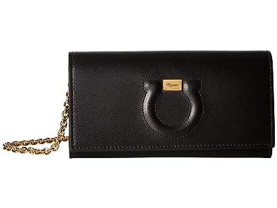 Salvatore Ferragamo Gancio Wallet On Chain (Nero/Lipstick) Handbags