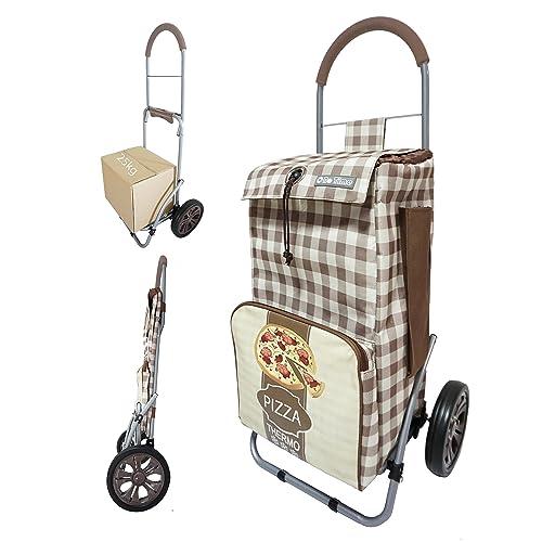 Chariot de courses pliable avec poche isotherme et poche porte parapluie - Double utilisation - Capacité 43L - Marque Bo Time