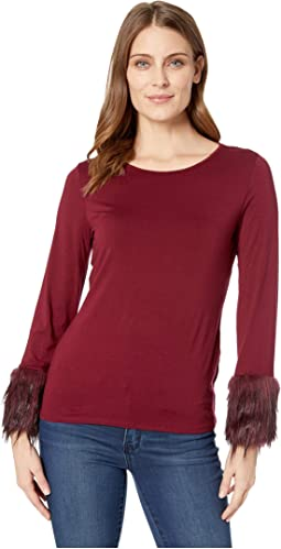 Long Sleeve Fur Cuff Top