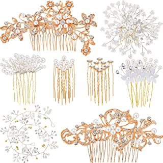 44 پارچه شانه موی عروسی Faux Pearl Crystal عروس مو لوازم جانبی مو شانه کناری مو کلیپ U شکل گل Rhinestone مروارید گیره مو برای عروس ساقدوش عروس (رزگلد)