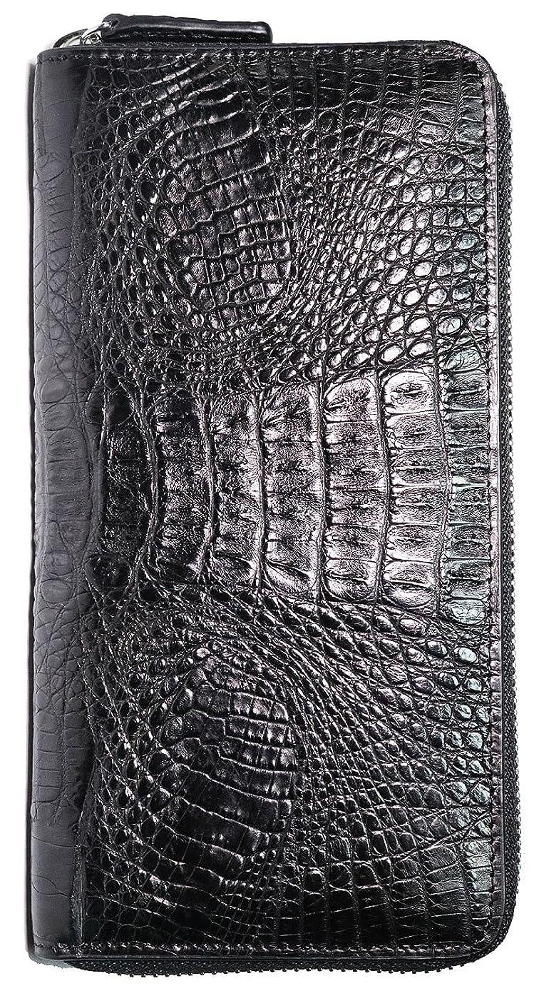 追い付く酸素アルプス[Berkut] 【本物 クロコダイル革】高級 本革 ワニ革 大容量 黒赤 長財布 ラウンドファスナー ギフトボックス付き 0010040