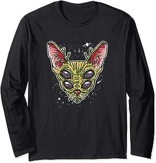 Funny Alien Cat Meme Illustration Gift for Alien Cat Lovers Long Sleeve T-Shirt