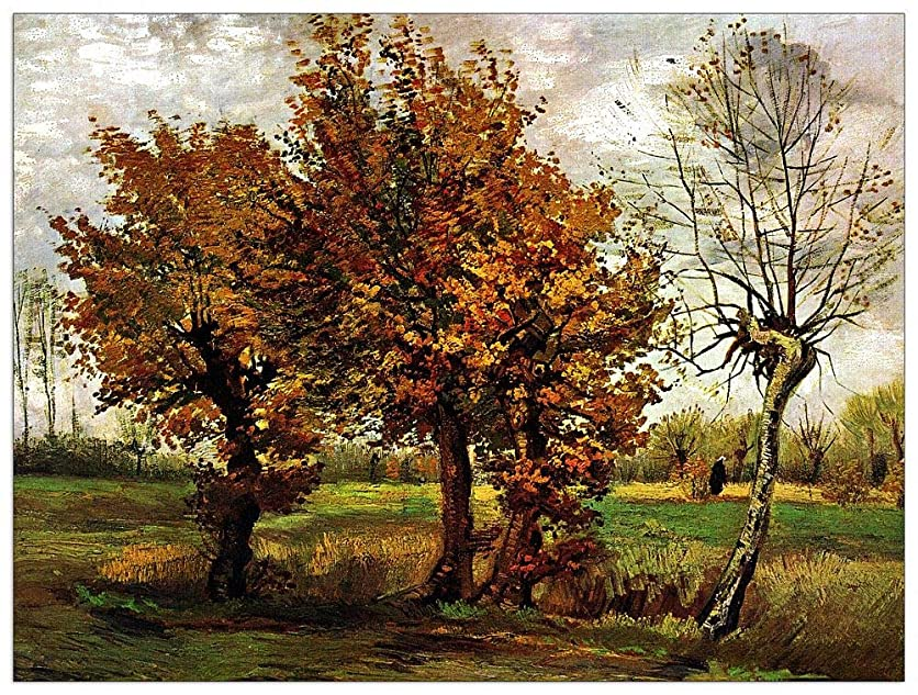 ArtPlaza TW90572 Van Gogh Vincent - Autumn Landscape with Four Trees Decorative Panel 35.5x27.5 Inch Multicolored xucj01908