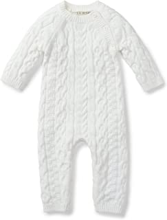 Hope & Henry Layette Cable Knit Sweater Romper