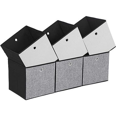 SONGMICS Lot de 6 Boîtes de Rangement Pliables, Cubes de Rangement pour Vêtements, Organiseur de Jouets, 30 x 30 x 30 cm, ROB30WB