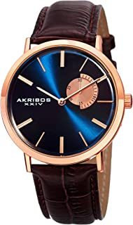AK848 Essential Mens Dress Watch - Sunburst Effect Dial - Quartz Movement - Leather Strap