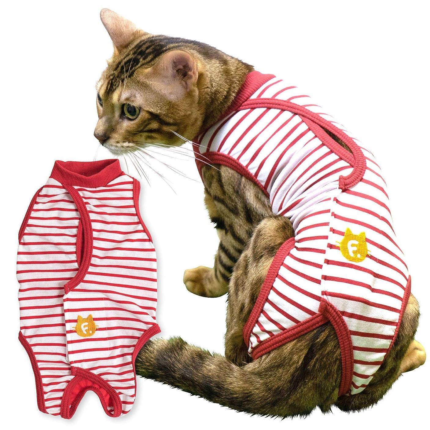 獣医師と共同開発 エリザベスカラーに代わる 猫用 消臭機能付き術後服エリザベスウエア(R) 男 女の子 雄 雌兼用 カラー 3 レッド サイズ C2L フルオブビガー