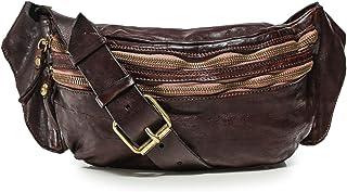 Campomaggi Hombres bolso de cintura de cuero de cocodrilo de imitación Dark Brown