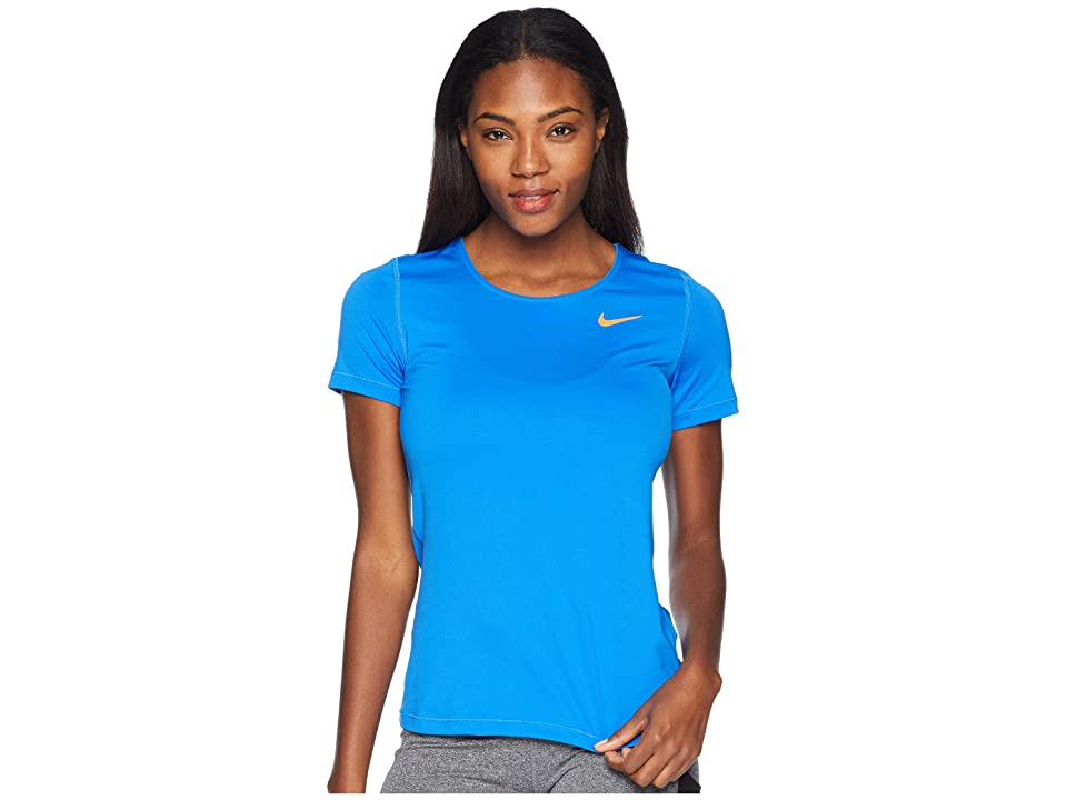 Nike Pro Mesh Short Sleeve Top (Signal Blue/Cone) Women