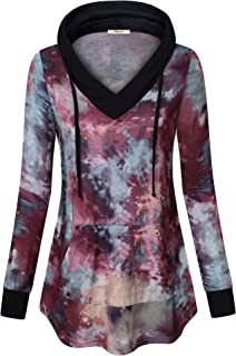 Womens Pullover Hoodie Sweatshirt Long Sleeve V Neck Plaid Lightweight Tunic Top with Pocket