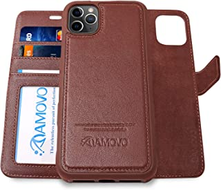 AMOVO Leather Case for iPhone 11 Pro Max (6.5'') [Genuine Leather] iPhone 11 Pro Max Wallet Case Detachable [2 in 1 Folio] [Wristlet] iPhone 11 Pro Max Leather Folio (11ProMax, Genuine Leather Brown)